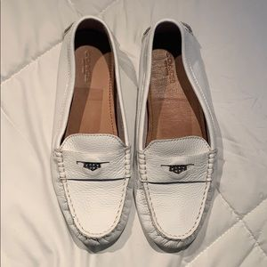 Size 8 Coach driver loafers in white